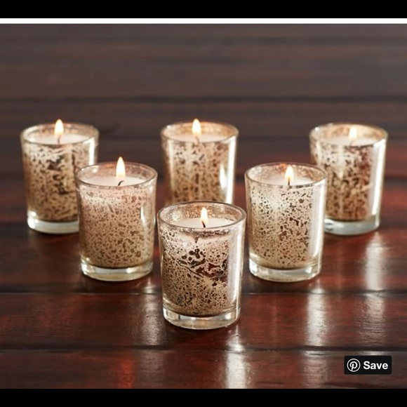 Pottery barn mecury glass votive candle set